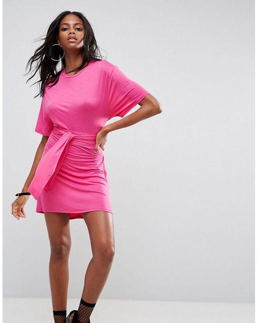 ASOS | Pink Mini Dress With Self Tie Belt | Lyst