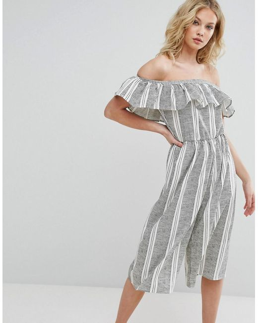 Missguided | White Striped Bardot Frill Detail Jumpsuit | Lyst