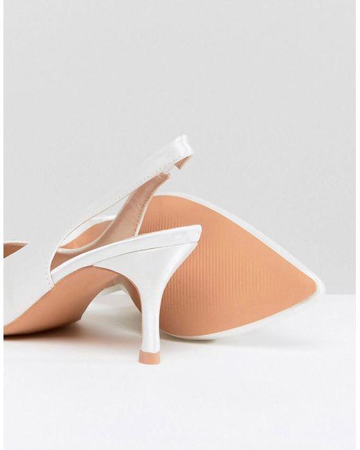 True Decadence Satin Kitten Heeled Sling Back Shoes 44fDROrhS
