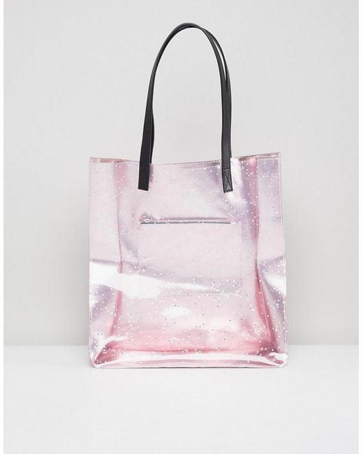 Skinnydip London - Pink Rose Gold Star Glitter Tote Bag - Lyst