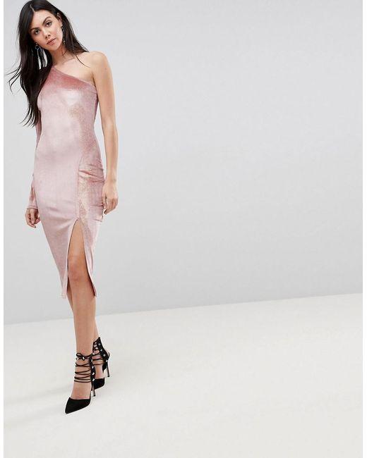 Glitter Velvet One Shoulder Midi Dress - Nude/gold Flounce London Tall lZBfIx