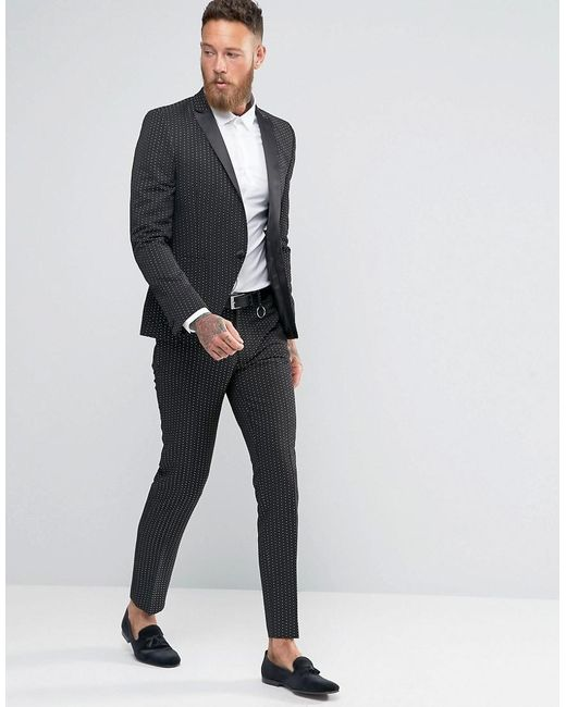 Asos Skinny Suit Pants In Black Polka Dot in Black for Men | Lyst