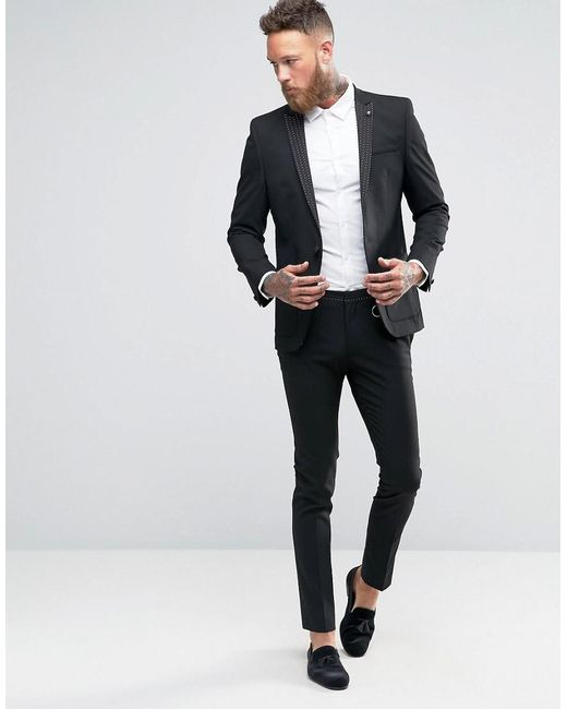 Asos Super Skinny Suit Jacket With Polka Dot Lapel in Black for ...