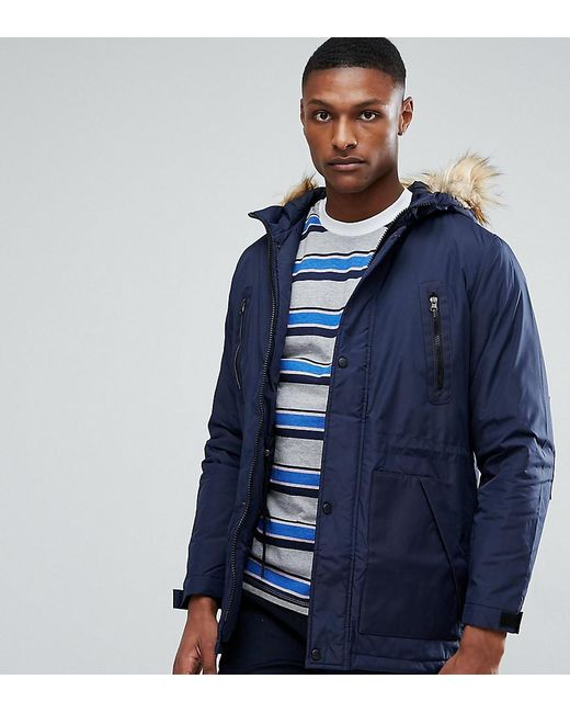 Asos Tall Parka Jacket With Faux Fur Trim In Navy in Blue for Men ...