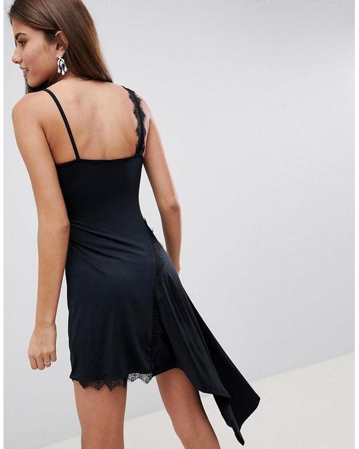 Asos Black Lace Insert Slinky Slip Dress Lyst