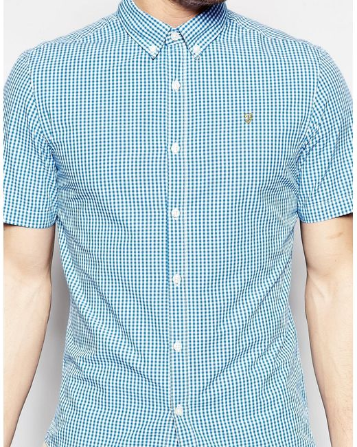Farah Shirt With Gingham Check Slim Fit Short Sleeves In