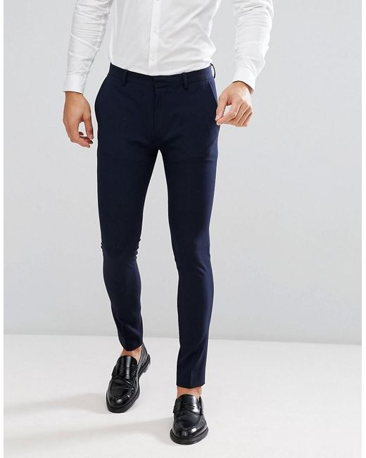 Lyst Asos Super Skinny Fit Suit Trousers In Navy In Blue For Men