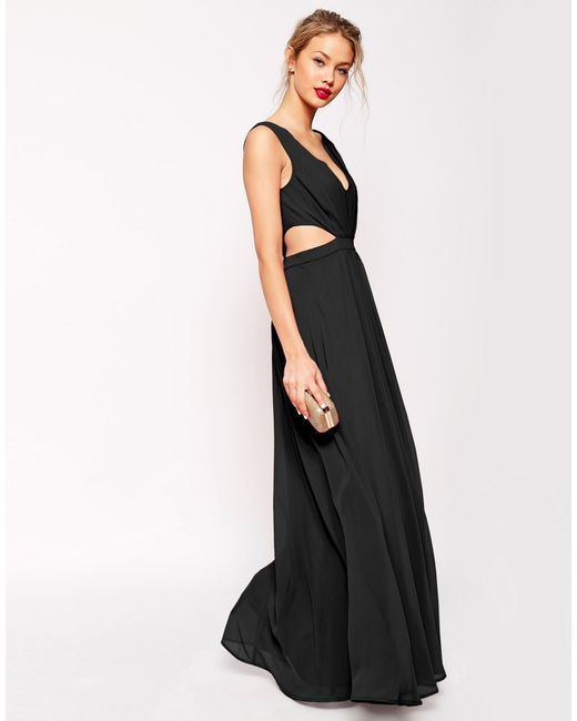 ASOS | Side Cut Out Maxi Dress - Black | Lyst