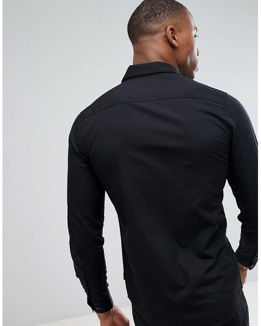 eb5ad806de29 ... Only & Sons - Slim Fit Stretch Poplin Shirt In Black for Men - Lyst