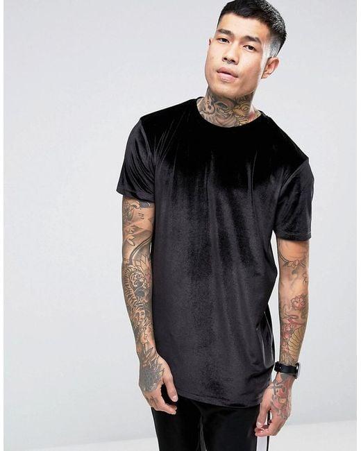 ASOS - Longline Velour T-shirt In Black for Men - Lyst