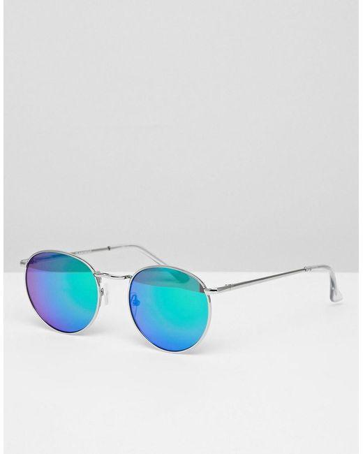 Glamorous - Blue Round Flash Lens Sunglasses - Lyst