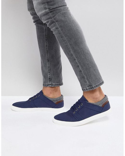 ASOS - Blue Lace Up Plimsolls In Navy Faux Suede With Warm Handle Cuff for Men - Lyst