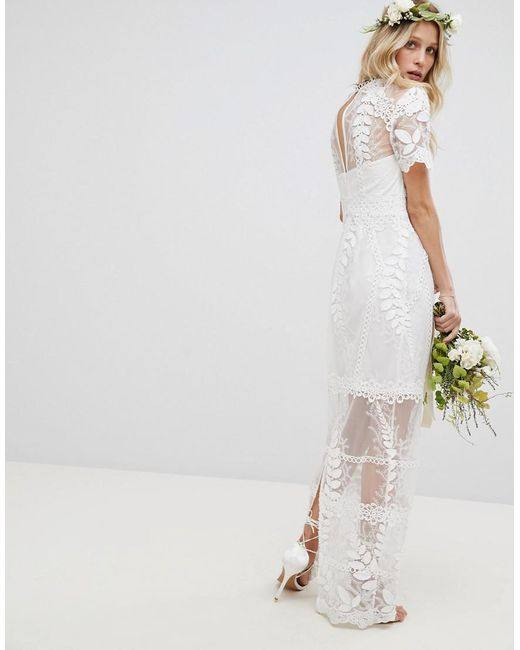e11d5911108 ... ASOS - White Corded Lace Maxi Wedding Dress With Scallop Hem - Lyst