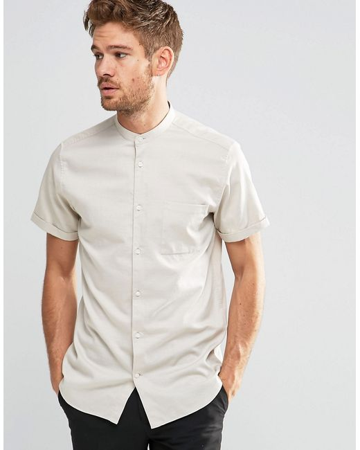 Selected short sleeve grandad shirt in slim fit white in for Short sleeve grandad shirt