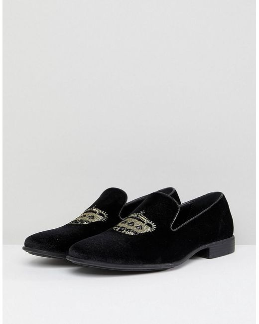 Wide Fit Loafers In Black Velvet With Crown Embroidery - Black Asos 6fV8I9MTYJ