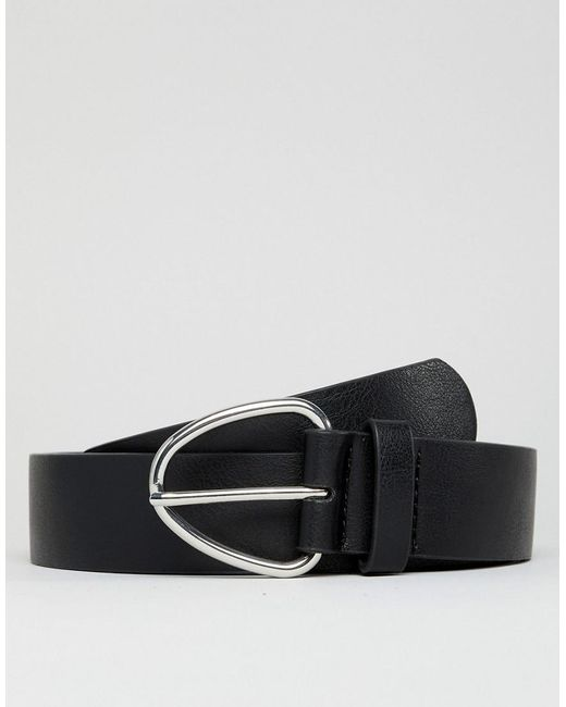 ASOS - Wide Faux Leather Belt In Black With Triangle Buckle for Men - Lyst