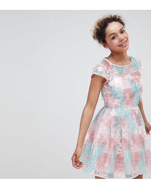 ASOS - Multicolor Asos Edition Petite Sequin Flower Skater Mini Dress - Lyst  ... 8017a5255