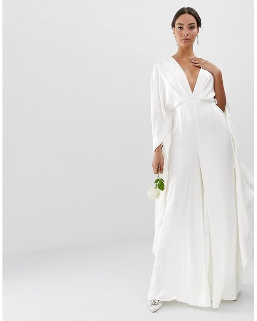 Lyst Asos Cape Sleeve Wedding Jumpsuit In Satin In White