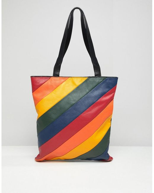 Warehouse Multicolor Leather Per Bag In Rainbow Stripe Lyst