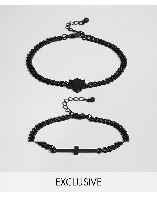 Reclaimed (vintage) - Metallic Inspired Cross Bracelet In 2 Pack Exclusive To Asos for Men - Lyst