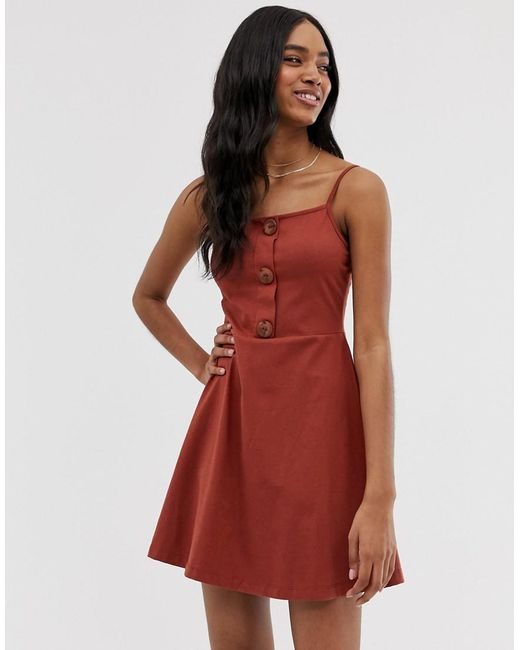 2018 sneakers get cheap good selling Lyst - ASOS Mini Button Front Square Neck Skater Dress in Brown