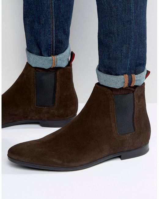 by hugo suede chelsea boots in brown for lyst