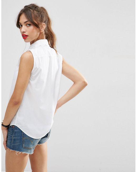 Asos sleeveless scallop collar white shirt in white lyst for Sleeveless white shirt with collar