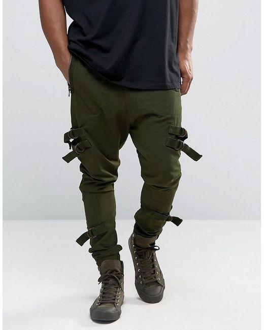 Asos Drop Crotch Joggers With Taping In Dark Khaki In
