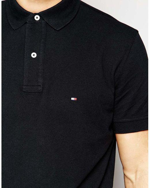 tommy hilfiger polo in slim fit black in black for men lyst. Black Bedroom Furniture Sets. Home Design Ideas