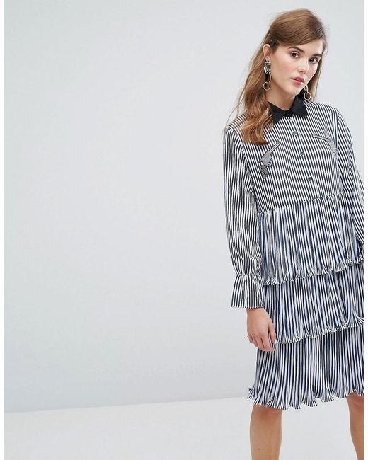 Sister Jane - Blue Midi Tiered Shirt Dress With Ruffles & Patches In Stripe - Lyst