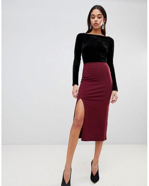 ASOS - Red Design Midi Skirt With Front Split - Lyst