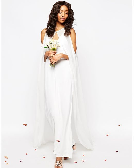 Asos Bridal Jumpsuit With Detachable Cape In Floral