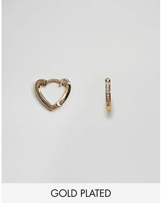 Orelia - Metallic Pave Gold Plated Heart Huggie Hoop Earrings - Lyst