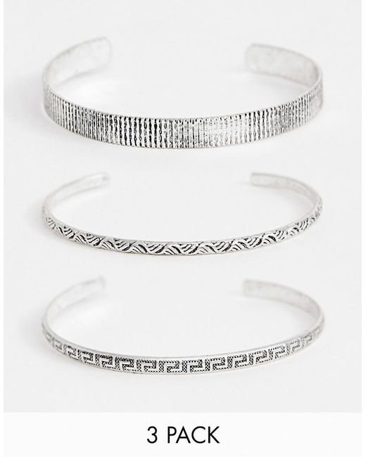 ASOS - Metallic Bangle Pack In Burnished Silver Tone for Men - Lyst