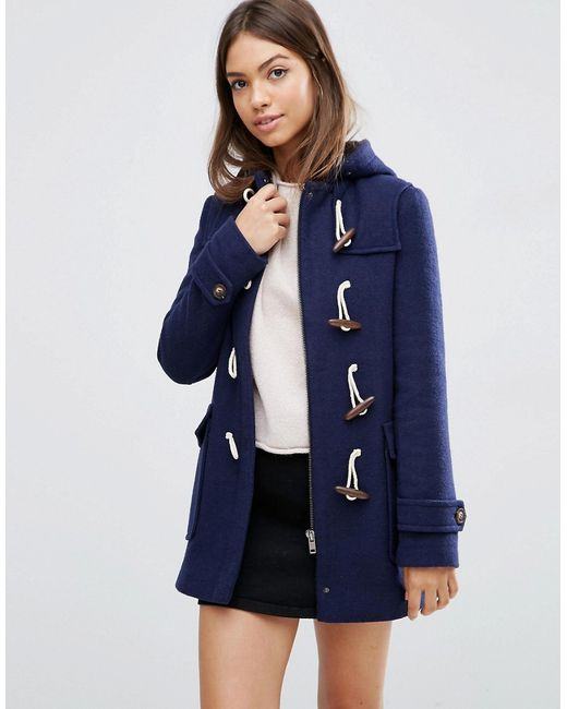 Asos Hooded Wool Blend Duffle Coat With Checked Liner in Blue | Lyst