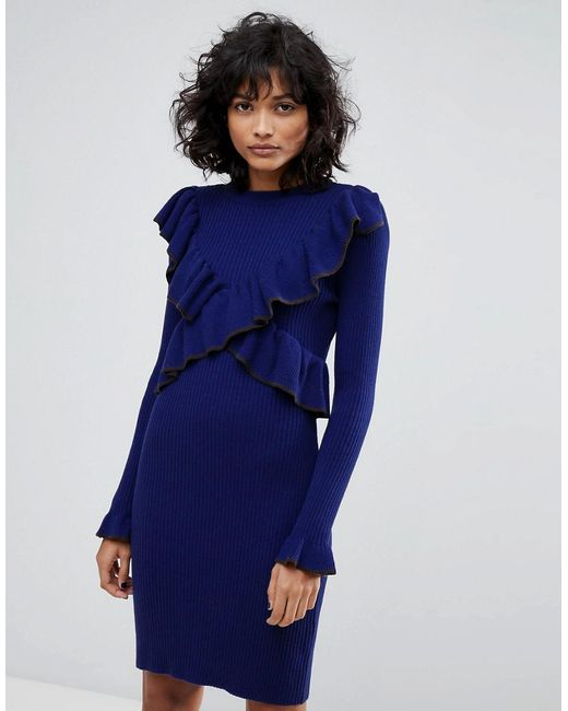 2nd Day - Blue Frilly Knitted Dress - Lyst
