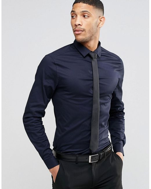 Asos skinny shirt in navy with black tie navy in blue for Navy blue color shirt