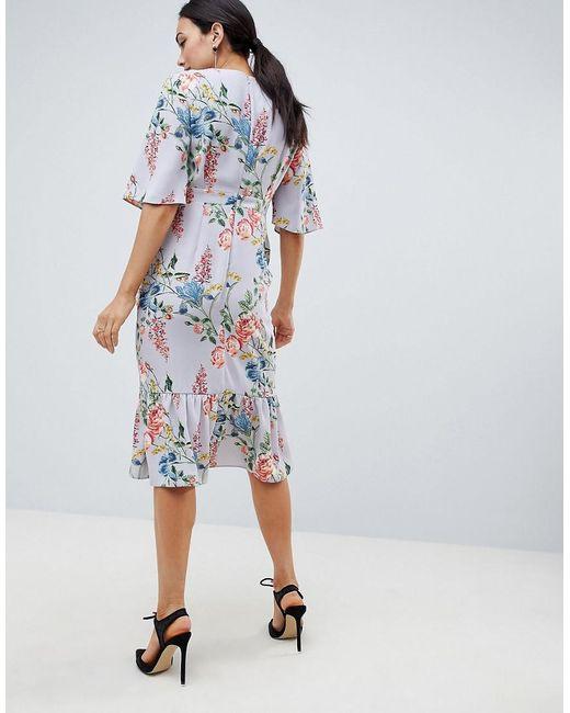 e08ec73a7c90 ... ASOS - Blue Asos Design Maternity Floral Print Kimono Sleeve Wrap Midi  Dress - Lyst
