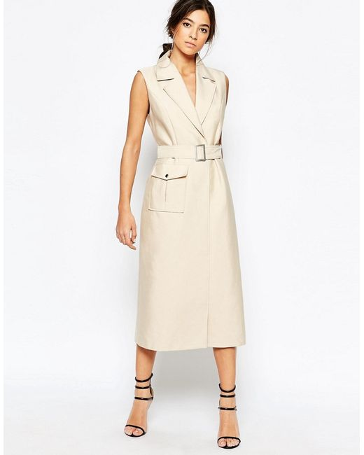 C meo collective white walls trench dress in beige in for C meo bedroom wall dress