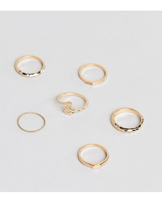 ASOS - Metallic Asos Design Curve Pack Of 6 Rings In Hammered And Flat Top Design In Gold - Lyst