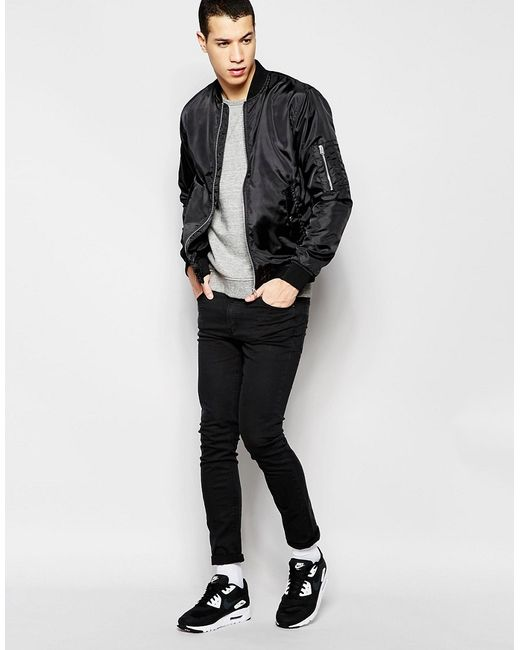 jack jones lightweight bomber jacket in black for men lyst. Black Bedroom Furniture Sets. Home Design Ideas