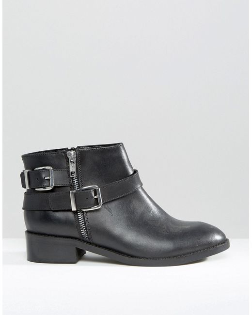 asos after wide fit leather ankle boots in black lyst