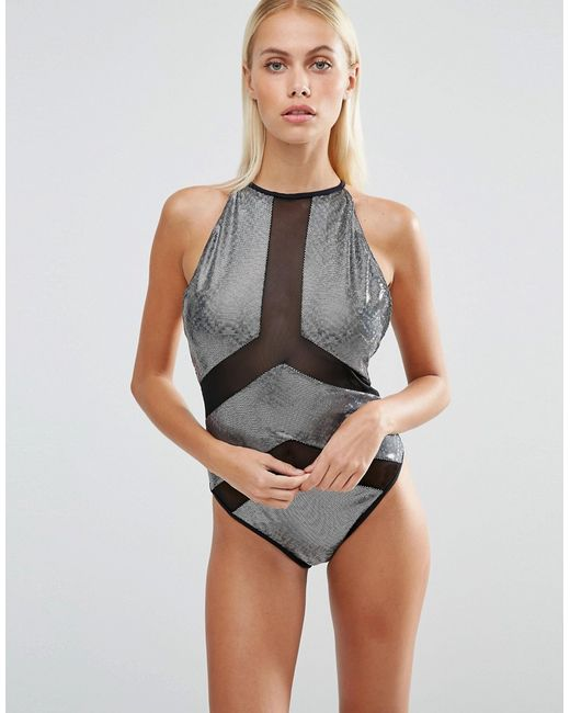 Jaded London Black Holographic Panelled Swimsuit In Gray Multi