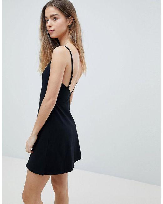 417c9eed7dbb8 ... ASOS - Black Asos Design Petite Mini Square Neck Skater Dress - Lyst