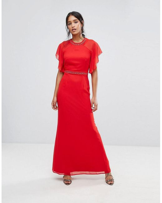 Elise Ryan - Red Embellished Trim Maxi Dress With Fluted Sleeve - Lyst