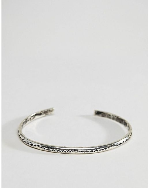 ASOS - Metallic Bangle With Emboss In Burnished Silver Tone for Men - Lyst