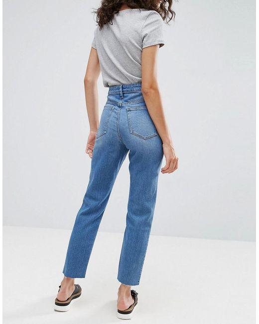 f3e79a21 ... ASOS - Blue Farleigh High Waist Slim Mom Jeans In Pretty Mid Wash - Lyst