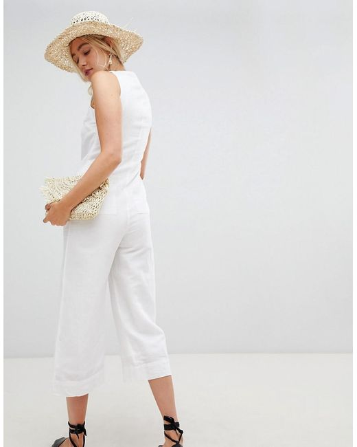 d742df3c1afb Warehouse Jumpsuit With Button Front In White in White - Lyst