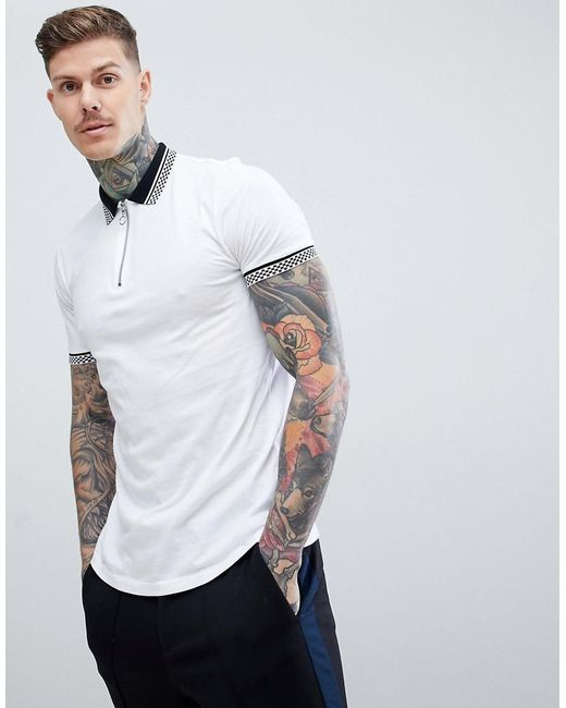 ASOS - White Polo With Checkerboard Collar And Zip Neck for Men - Lyst