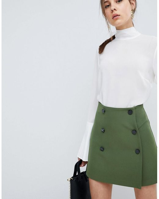 ASOS - Green Asos Double Breasted Mini Skirt - Lyst